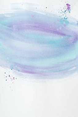 Abstract purple and blue watercolor painting with splatters on white paper stock vector