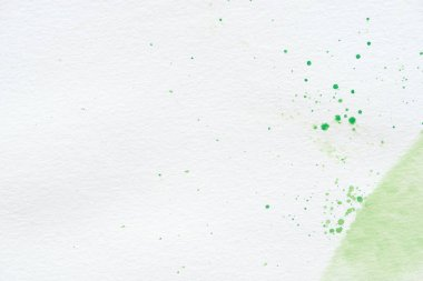 Abstract green watercolor splatters on white paper background with copy space stock vector