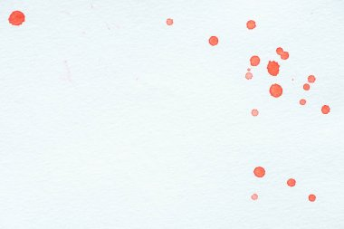 Abstract red watercolor drops on white paper background with copy space stock vector