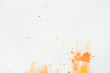 Orange watercolor painting with splatters on white paper stock vector