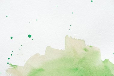 Abstract green watercolor background with splatters stock vector