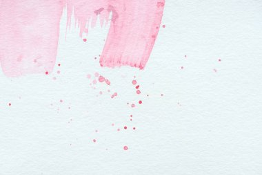 Abstract background with pink watercolor strokes and splatters stock vector