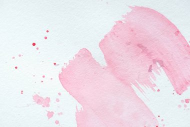 Creative background with pink watercolor strokes and splatters on white paper stock vector