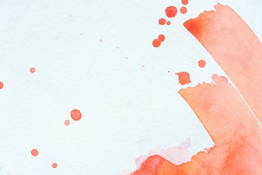 Creative background with red watercolor strokes and splatters on white paper stock vector