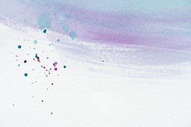 Close up of abstract violet and blue watercolor painting with splatters stock vector
