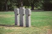 Fényképek festői kilátást azonos régi sírkövek a füvet a temetőben