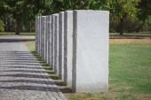 Selektivní fokus kamenných hrobek v řadě na hřbitov