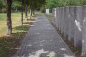 Fotografie cesta od Dlažební kámen a náhrobní pomník umístěn do řádku na hřbitově