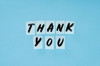 Thank you wording on sticky notes isolated on blue background stock vector
