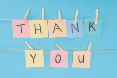 Colorful sticky notes spelling thank you on lace with clothespins isolated on blue background stock vector