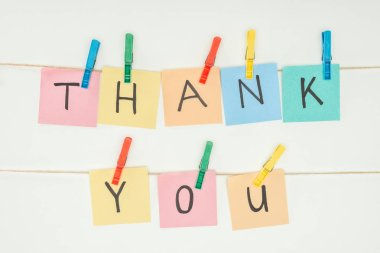 Colorful sticky notes spelling thank you on lace with clothespins isolated on white background stock vector