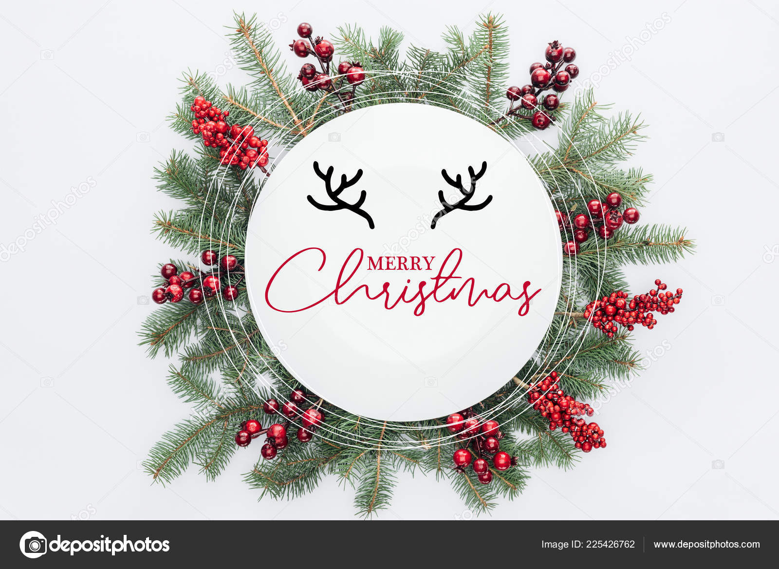 top view pine tree wreath christmas decorations merry christmas lettering stock photo