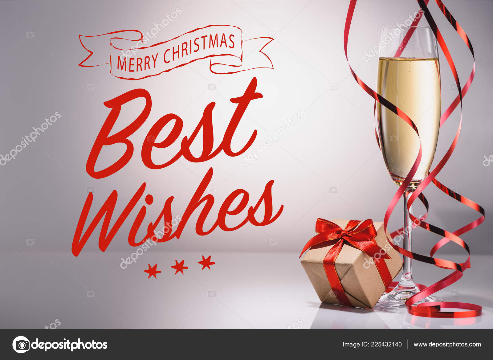 Glass Champagne Wrapped Gift Grey Backdrop Best Wishes Merry ...