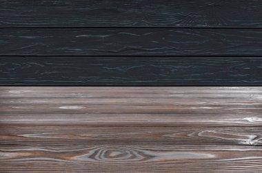 Template of brown wooden floor on black planks background stock vector