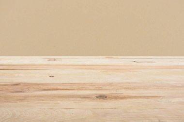 Template of beige wooden floor on dark beige background stock vector