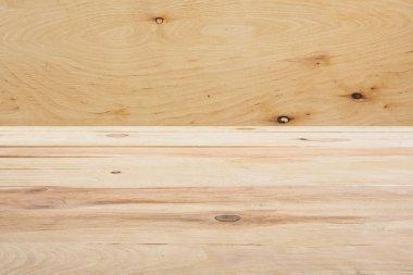 Template of beige wooden floor on plywood background stock vector
