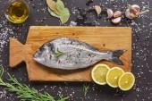 Fényképek fából készült táblán a nyers hal és összetevők az élelmiszer-összetétel felülnézet