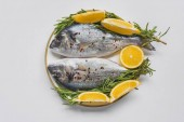 flat lay with fish decorated by rosemary and lemon on plate
