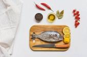 pohled ze syrové ryby a různé přísady na bílém stole