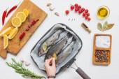 oříznutý obraz žena uvedení bobkového listu na syrovou rybu v pekáč na stůl přinesený