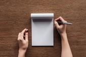 levágott nézet a személyi toll át üres notebook fából készült háttér