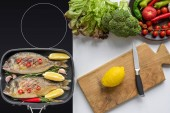 top view of delicious fish on grill and fresh vegetables with cutting board and knife