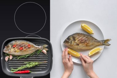 cropped shot of person cooking delicious dorado fish with lemon