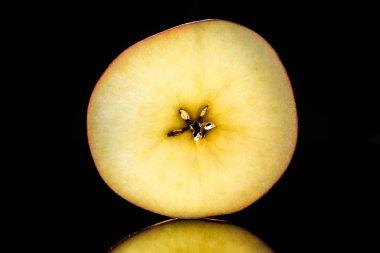 Half of ripe raw apple isolated on black stock vector
