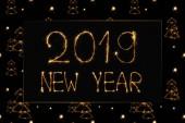 Nový rok 2019 světlo, nápisy a světelných návěstidel strom jedle na černém pozadí