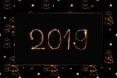 2019 a světla strom jedle zpívá na černém pozadí