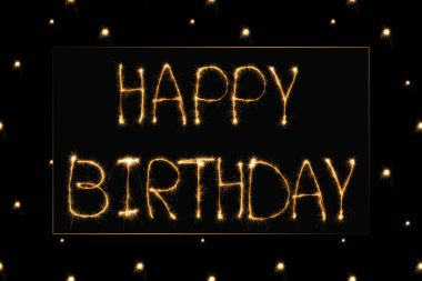 Close up view of happy birthday light lettering on black backdrop stock vector