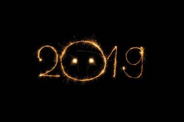 2019 light sing on black background