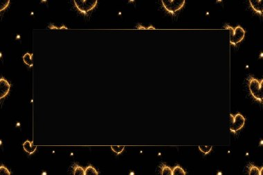 full frame of hearts light signs arranged on black background with empty space in middle