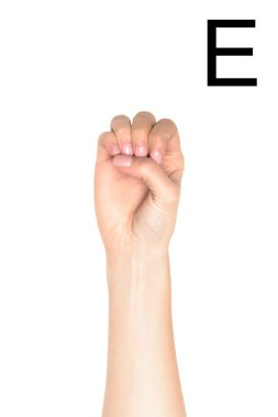 Female hand showing latin letter - E, sign language, isolated on white stock vector