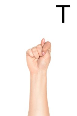 Cropped view of female hand showing latin letter - T, deaf and dumb language, isolated on white stock vector