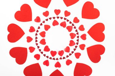 Elevated view of circles made of red heart symbols isolated on white, st valentine day concept stock vector