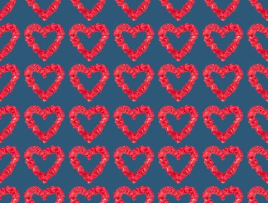 Seamless pattern from beautiful decorative red hearts on blue background stock vector