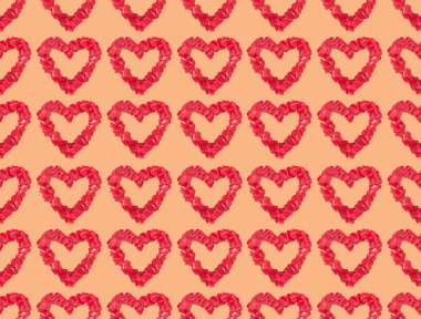 Seamless pattern from beautiful decorative red hearts on orange background stock vector