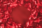 top view of beautiful round frame from decorative heart shaped petals on red background