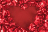 pohled shora krásné srdce ve tvaru rámečku od dekorativní květy na červeném pozadí