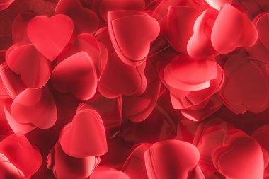 yakından görmek güzel dekoratif kırmızı kalp şeklinde yaprakları, Sevgililer günü arka plan