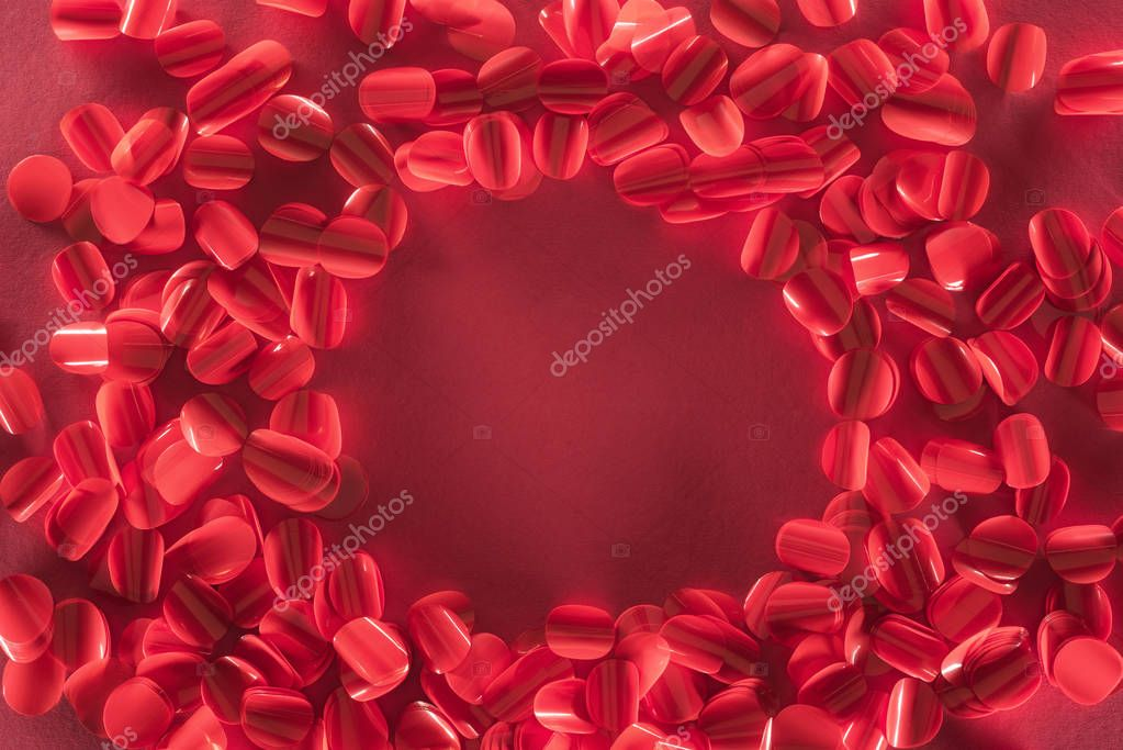 Round frame and beautiful decorative red petals, valentines day background stock vector