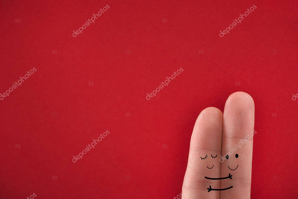 Painted fingers pretending happy couple in love hugging. Valentines day concept. stock vector