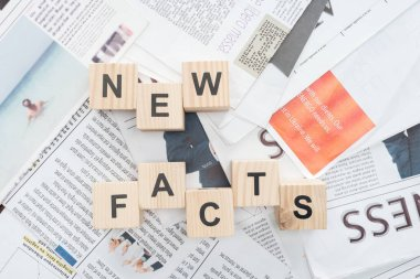 top view of wooden cubes with words news facts on newspapers