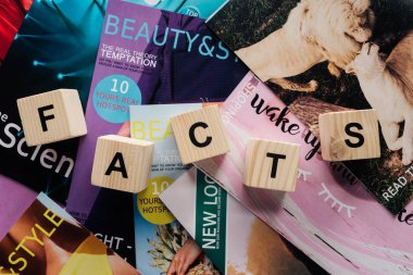 top view of pile of different tabloid magazines and wooden cubes with word facts on surface
