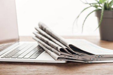 laptop, plant and stack of newspapers on wooden tabletop