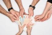 oříznutý pohled skupiny sdílení ruských bankovek izolované Grey
