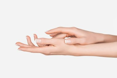 Cropped view of female hands isolated on white stock vector