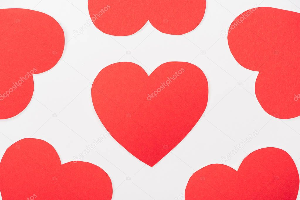 Background with heart shaped paper cards isolated on white, st valentines day concept stock vector
