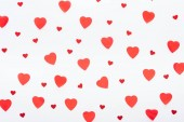 background of multiple paper hearts isolated on white, st valentines day concept